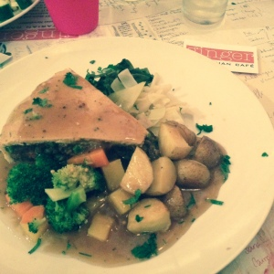 I do love a pie! Hearty Vegan food, cooked with love at the Ginger Cafe