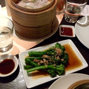 Vegan friendly dim sum and garlic, soy broccoli at Ping Pong, London