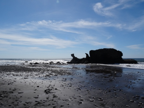 Beautiful El Tunco, one of the best surf beaches in El Salvador and home to this very photogenic rock.