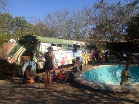 The after school club at Hada-Madrina, Playa Jiquilillo, volunteers sleep on the bus!
