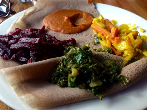Vegan Ethiopian meal at Bunna Cafe, New York
