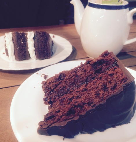 Double vegan friendly cake at Oasis Cafe, Harvest E8 health food store